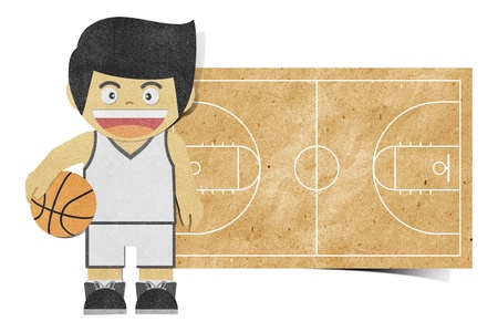 post teen: Paper boy  ( basketball player ) recycled papercraft