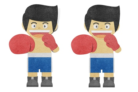 boy boxing: Paper boy ( Boxer ) recycled papercraft