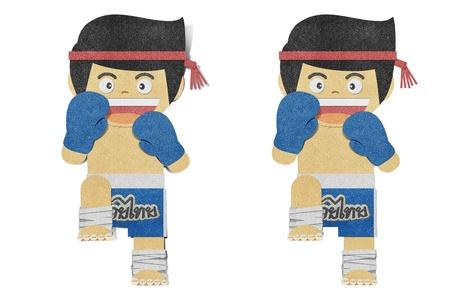 Paper boy ( muay thai kick Boxer ) recycled papercraft photo