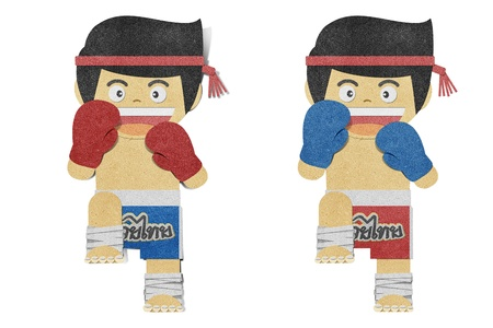 Paper boy ( muay thai kick Boxer ) recycled papercraft photo