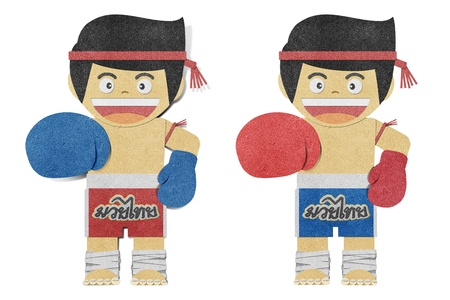 game pad: Paper boy ( muay thai kick Boxer ) recycled papercraft