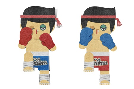 recycled paper: Paper boy ( muay thai kick Boxer ) recycled papercraft