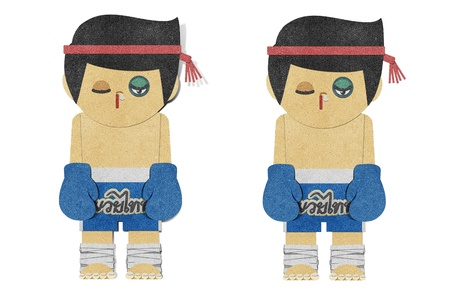 paper punch: Paper boy ( muay thai kick Boxer ) recycled papercraft