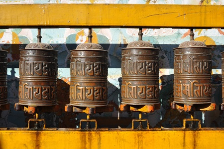 tibetan prayer wheel , nepal photo