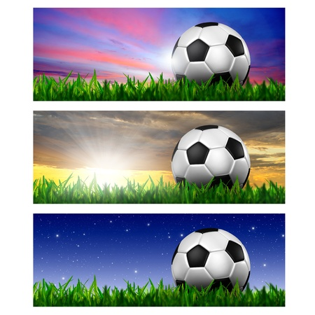 Timeline Cover   Ratio 851x315   - football in green grass Stock Photo - 13489890