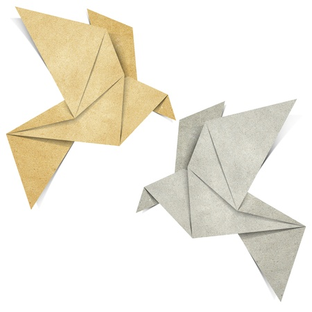 recycling paper: Origami Bird made from Recycle Paper Stock Photo