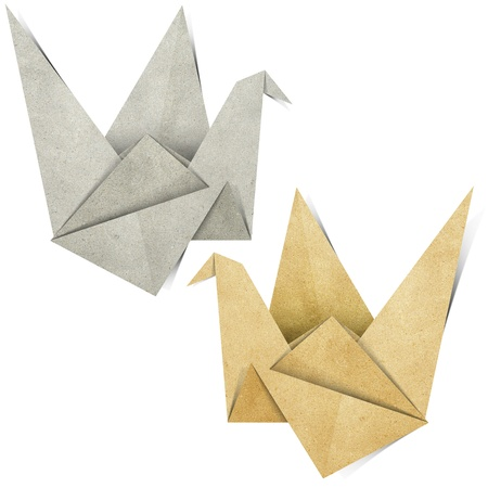 Origami Bird made from Recycle Paper Stock Photo - 13489938