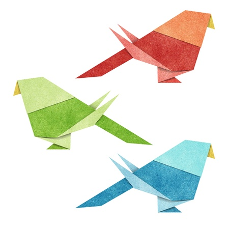 Origami Bird   Zebra Parakeet    made from Recycle Paper Stock Photo - 13490016