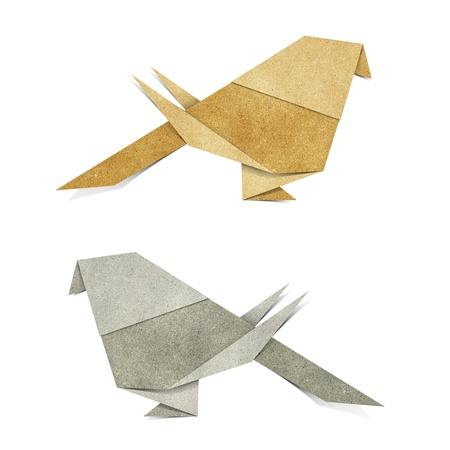 recycled paper: Origami Bird   Zebra Parakeet    made from Recycle Paper