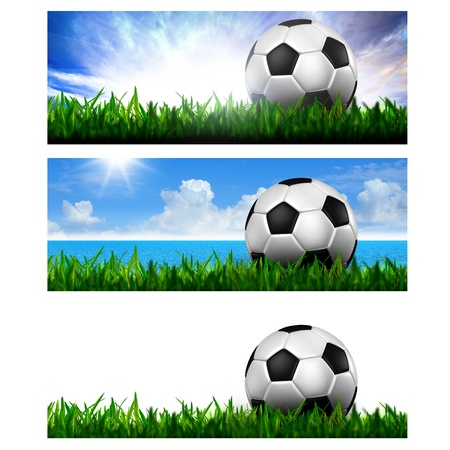 soccer grass: Timeline Cover   Ratio 851x315   - football in green grass Stock Photo
