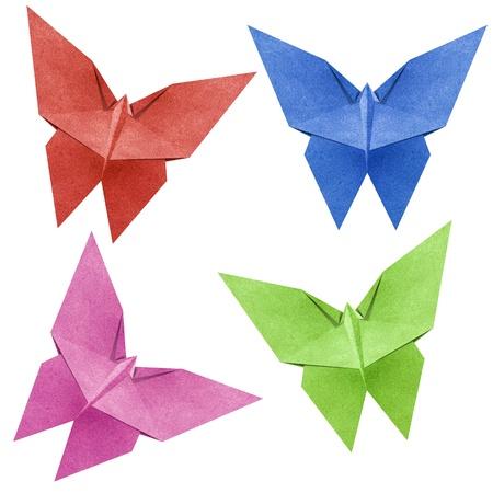 paper craft: Origami de mariposa hecha de papel reciclado Foto de archivo