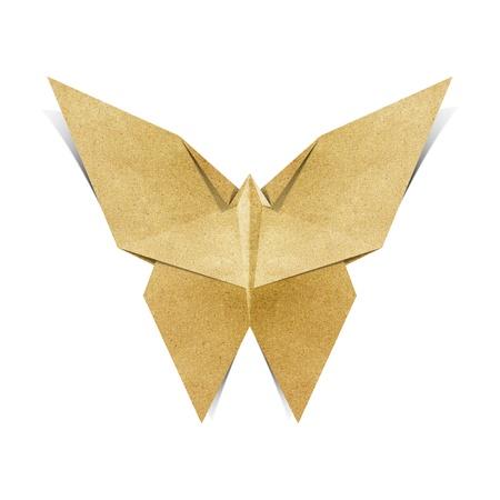 papel reciclado: Origami de mariposa hecha de papel reciclado Foto de archivo