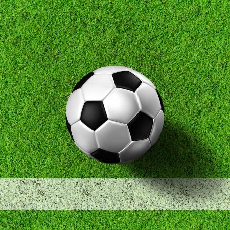 Football   soccer  ball   in green grass field