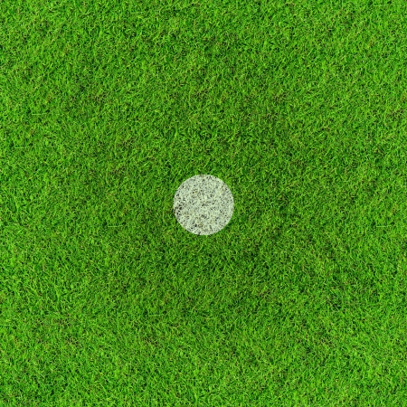 penalty: Penalty point on football grass field  Stock Photo