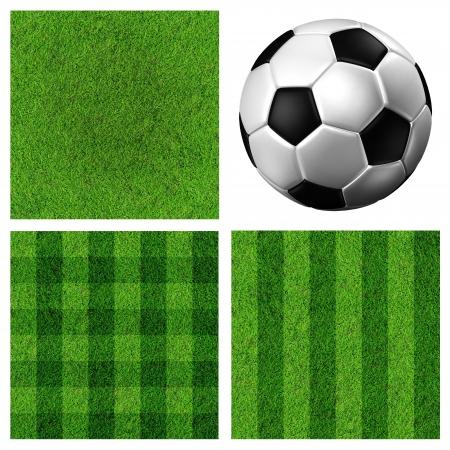 bannière football: Football Ballon de soccer et sur le terrain herbe verte Banque d'images