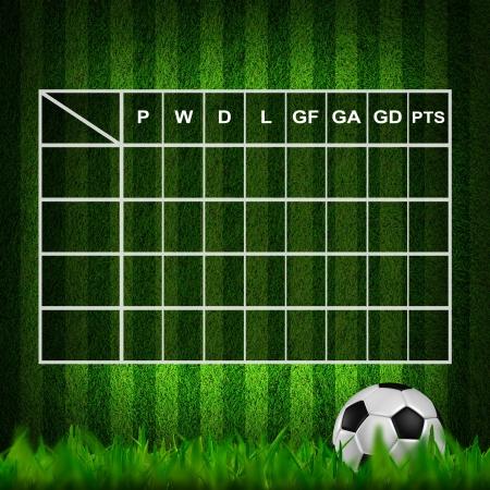 soccer match: Blank Soccer ( Football )  Table score  Stock Photo