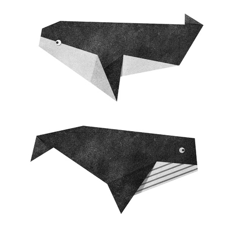 recycled water: Origami whale recycled papercraft Stock Photo