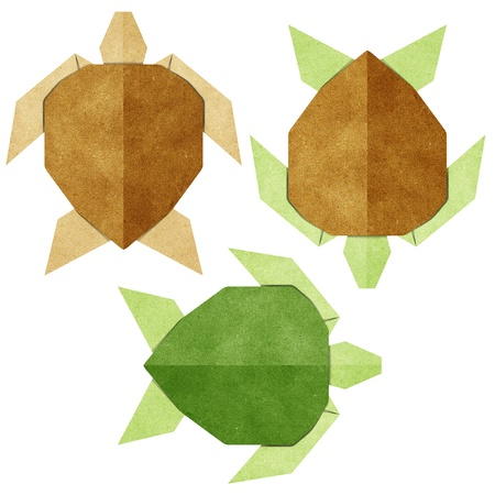 papercraft: Origami turtle recycled papercraft Stock Photo