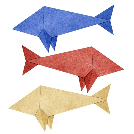 swims: Origami fish recycled papercraft
