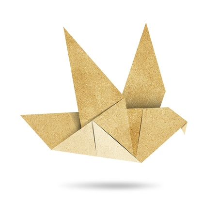 Origami Bird made from Recycle Paper Stock Photo - 14247683