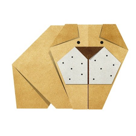 Origami bulldog made from Recycle Paper photo