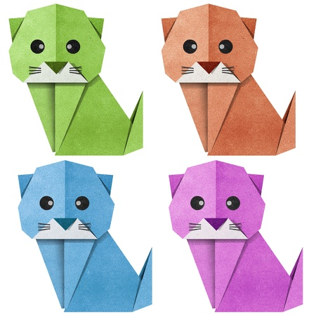 Origami cat made from Recycle Paper Stock Photo