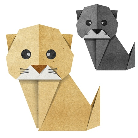 Origami cat made from Recycle Paper Stock Photo - 14247693
