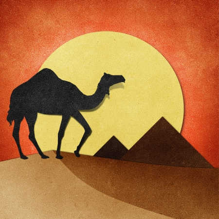 Camel and pyramid on desert Recycled Papercraft photo