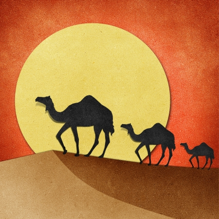camel: Camel and pyramid on desert Recycled Papercraft
