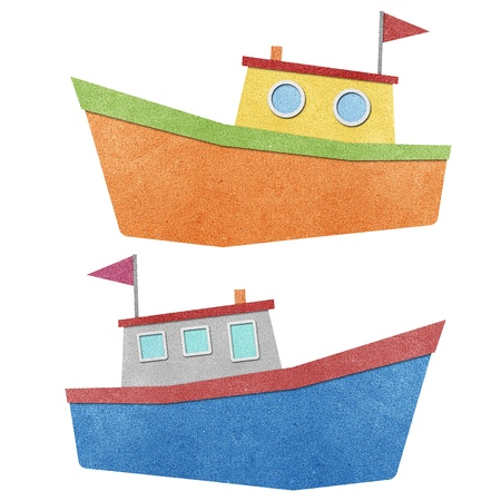 papercraft: Boat and sea view recycled papercraft