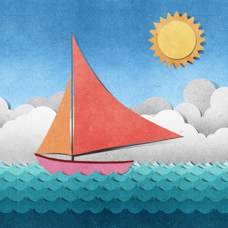 recycled water: Boat and sea view recycled papercraft