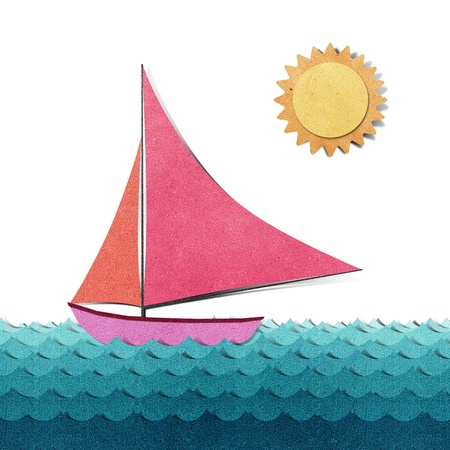Boat and sea view recycled papercraft photo