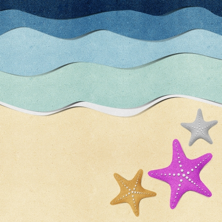 Starfish on beach recycled paper background photo