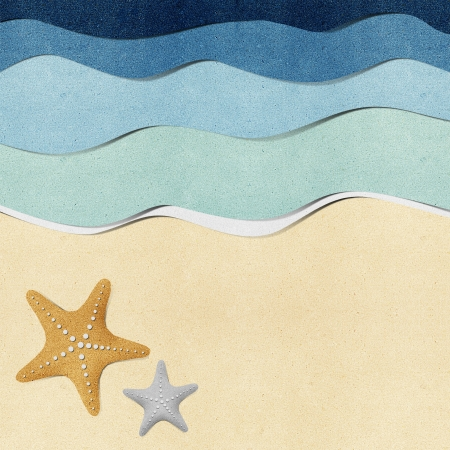 Starfish on beach recycled paper background Stock Photo - 14645376