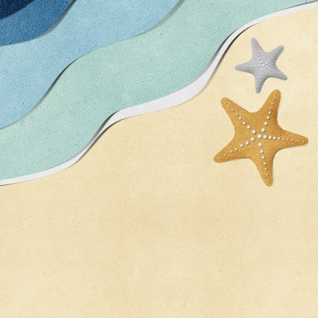 recycled water: Starfish on beach recycled paper background