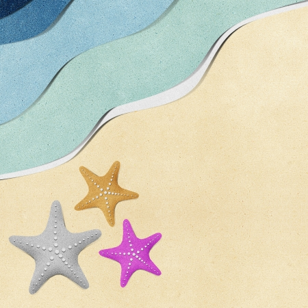recycled paper: Starfish on beach recycled paper background