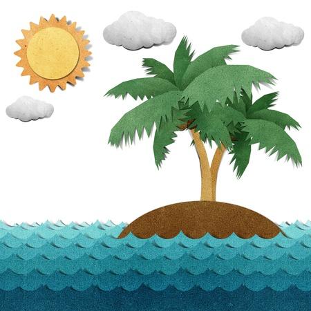 papel artesanal: Isla y el mar reciclado papercraft