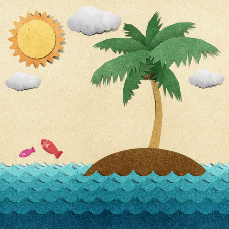 recycled water: Island and sea recycled papercraft Stock Photo