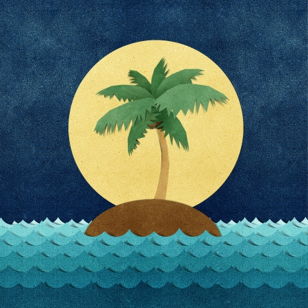papercraft: Island and sea recycled papercraft Stock Photo