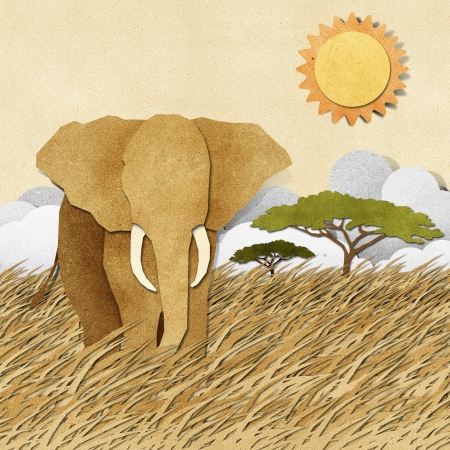 Elephant made from recycled paper background photo