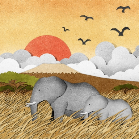 papercraft: Elephant made from recycled paper background Stock Photo