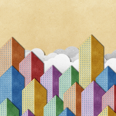 City View made from recycled paper background Stock Photo - 14752833