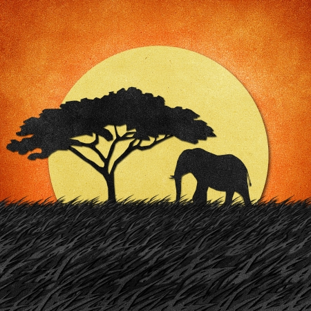 Elephant made from recycled paper background Stock Photo - 14846400