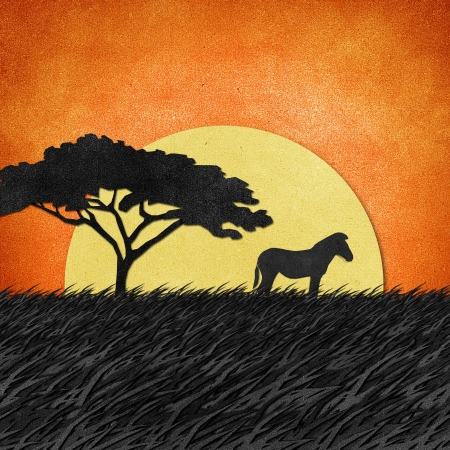 africa sunset: Zebra made from recycled paper background Stock Photo