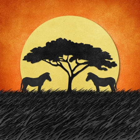 savanna: Zebra made from recycled paper background Stock Photo