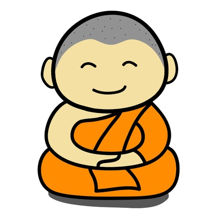 Buddhist  monk  cartoon   vector Vector