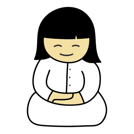 meditation man: Hand writing Cartoon  Illustration