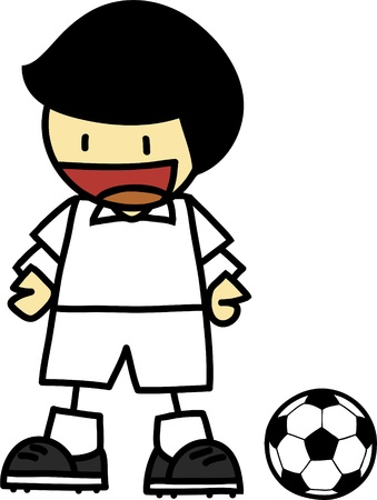 japanesse: Soccer player cartoon on white background