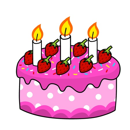 pink cake: Cartoon cake hand drawing   Vector