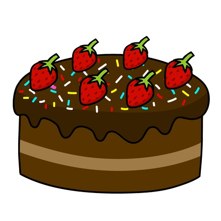 Cartoon cake hand drawing   Vector  Vector
